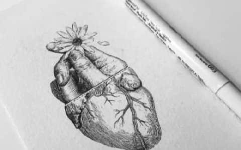 创意心脏纹身手稿