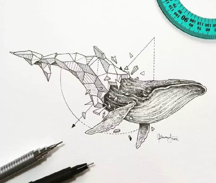 简约动物纹身手稿
