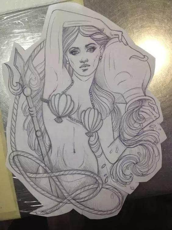 欧美美女肖像纹身手稿