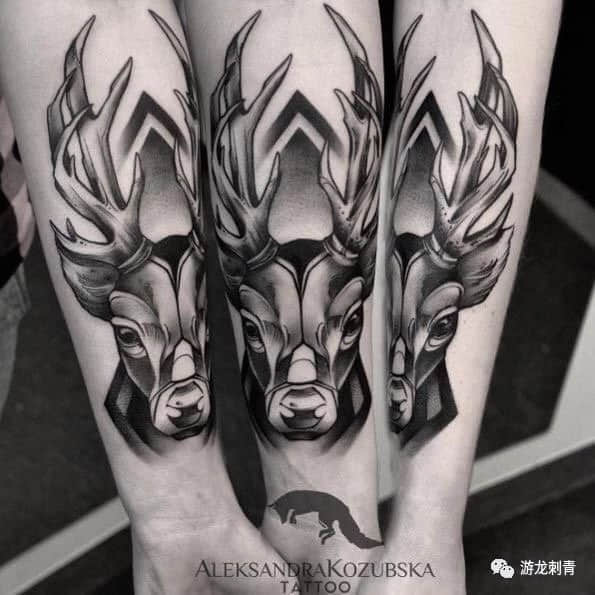 鹿纹身,鹿纹身手稿,鹿纹身手稿图案大全
