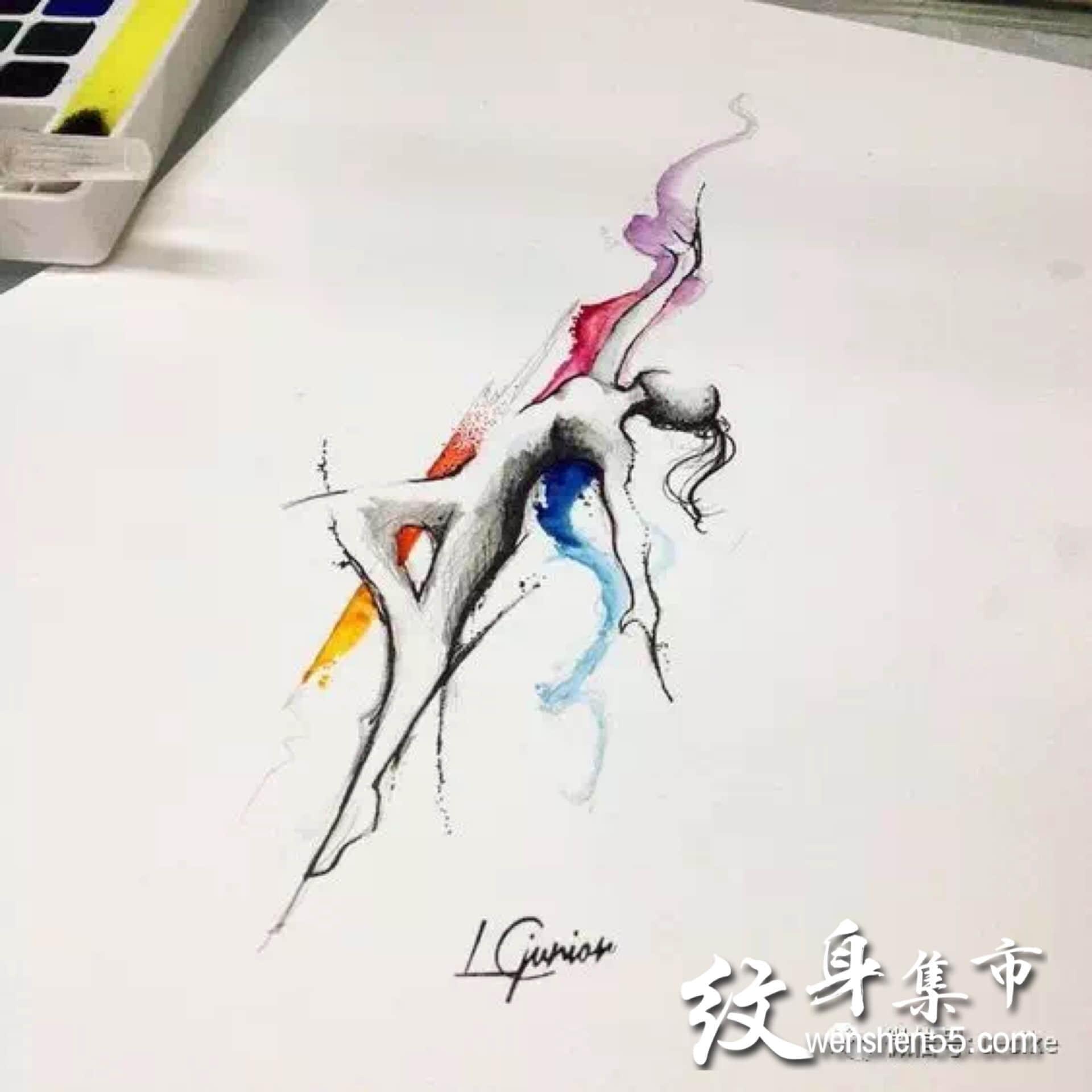 舞者纹身,小清新纹身手稿,舞者纹身手稿图案大全