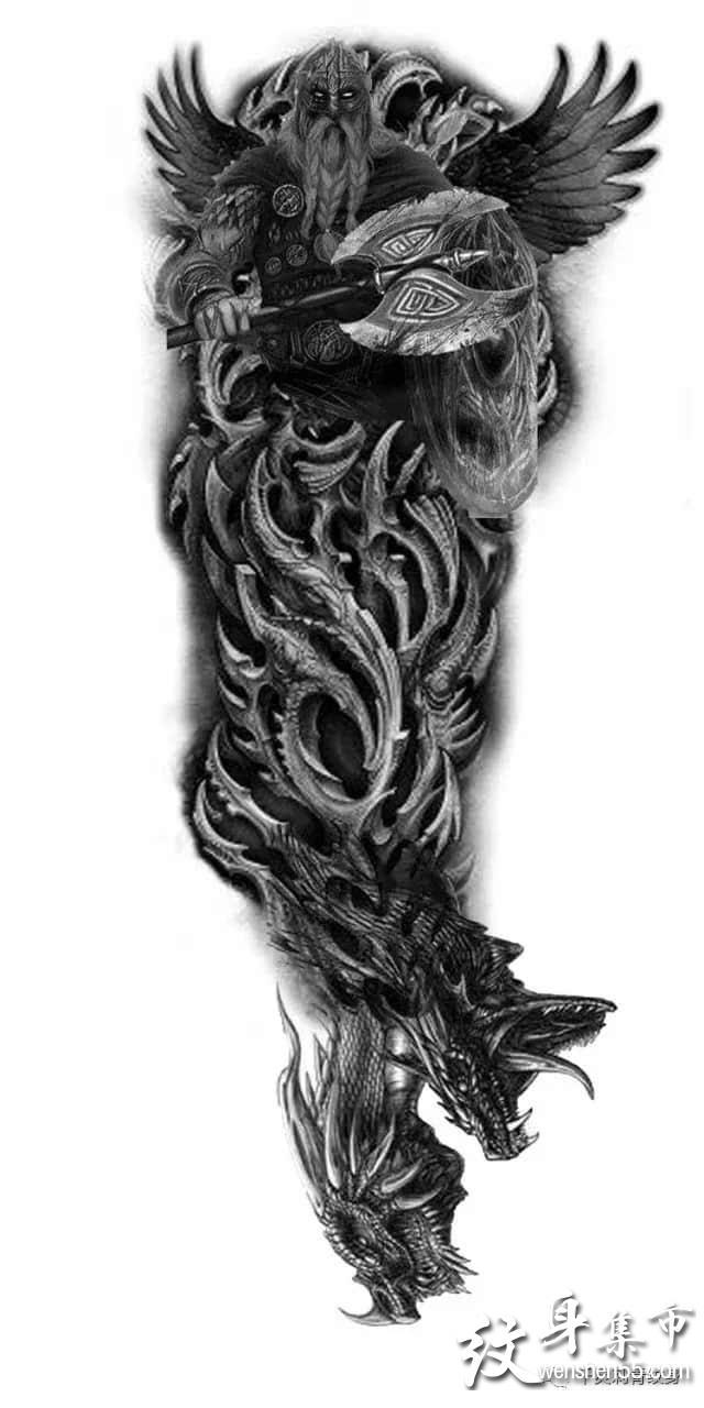 写实花臂纹身,写实花臂纹身手稿图案