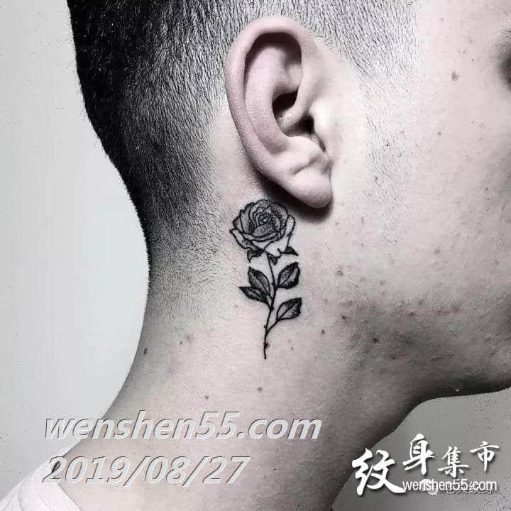 男生耳后纹身,耳后纹身图案