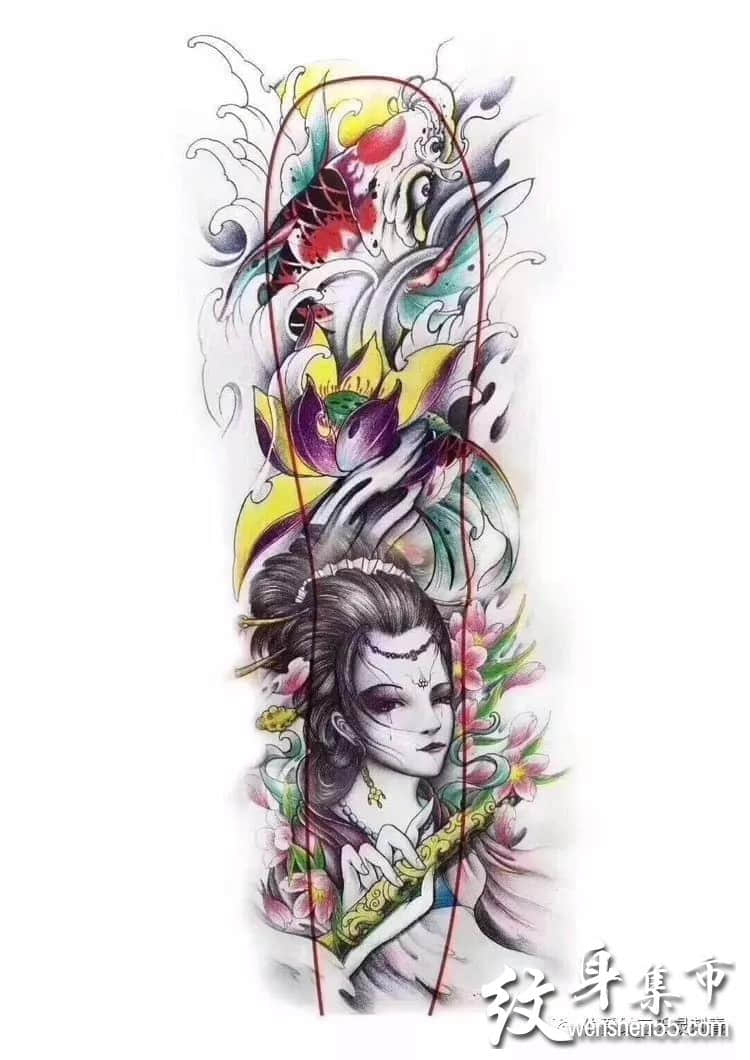 花臂纹身,花臂纹身手稿图案