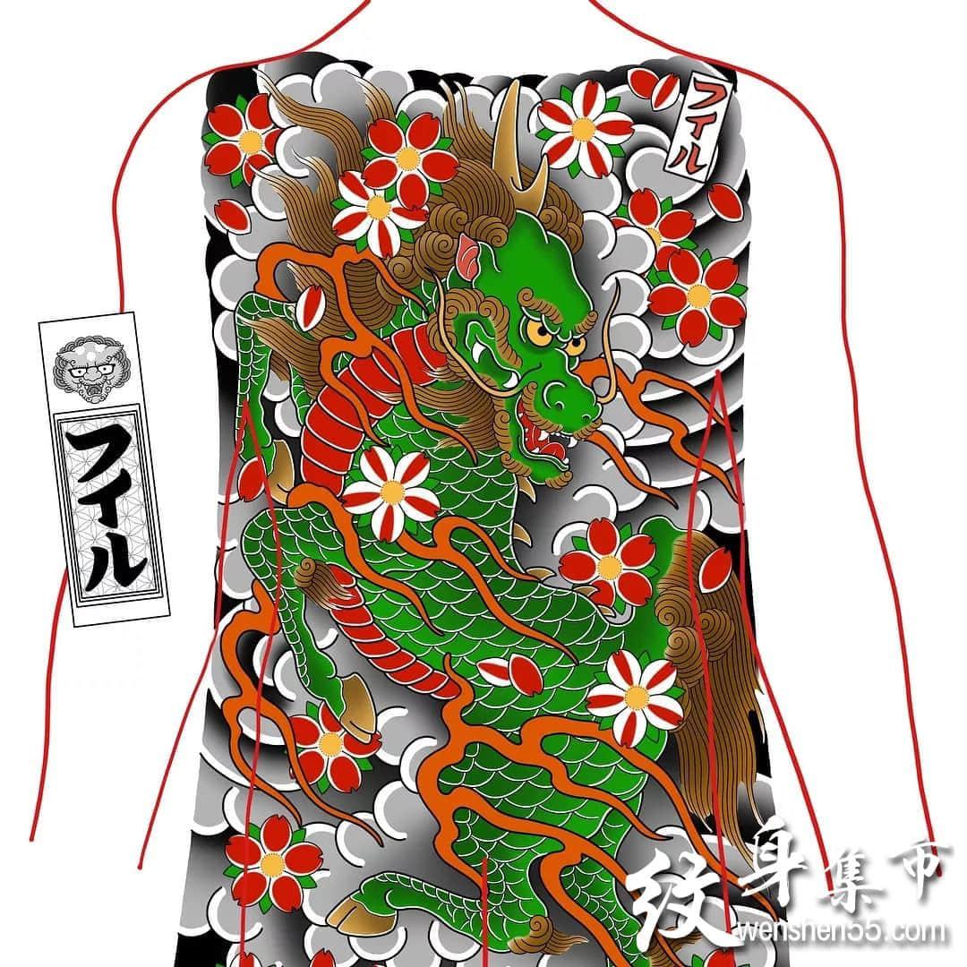 日式满背,日式满背纹身手稿图案