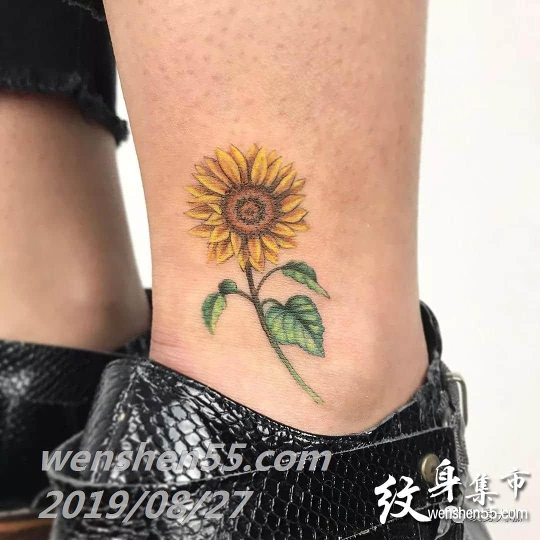 向日葵纹身,小清新纹身手稿图案大全