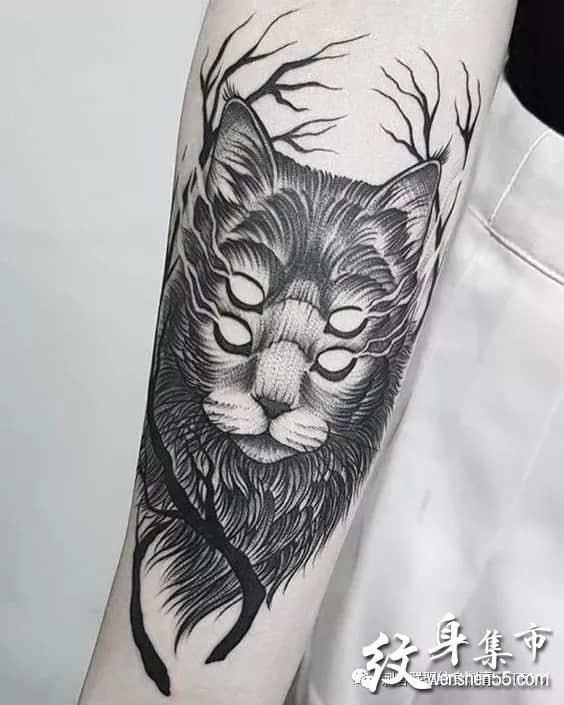 暗黑猫咪纹身,暗黑猫咪纹身手稿素材