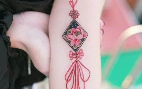 小清新纹身,中国结纹身,中国结纹身图案