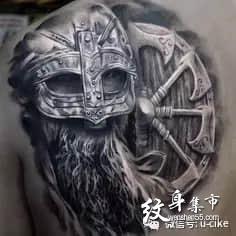 欧美写实纹身,维京战士纹身