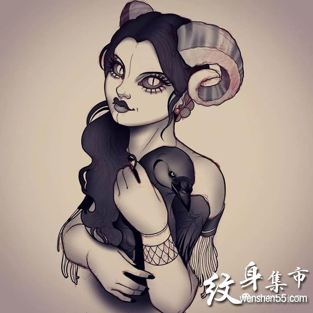 欧美女肖像纹身,魅魔纹身,魅魔纹身手稿素材