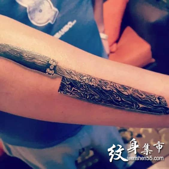 匕首纹身,匕首纹身手稿图案