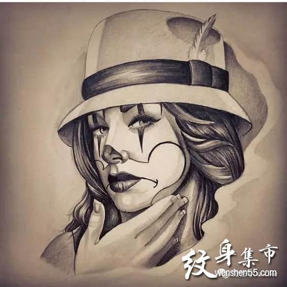 奇卡诺纹身,亡灵女郎纹身,欧美写实纹身