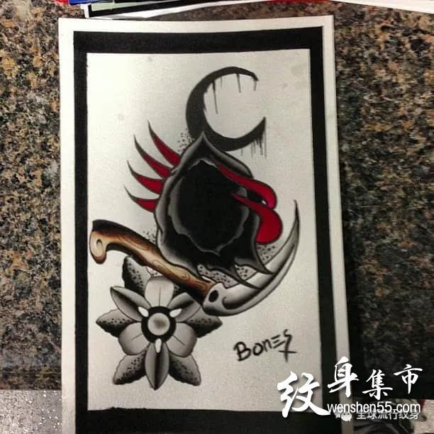 镰刀纹身,镰刀纹身手稿图案