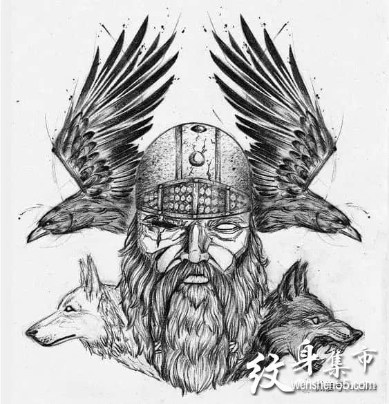 欧美写实纹身,维京战士纹身手稿