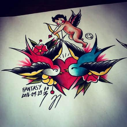 丘比特纹身,丘比特纹身手稿,丘比特纹身手稿图案大全
