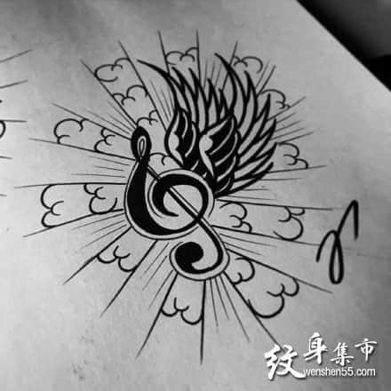 音符纹身手稿