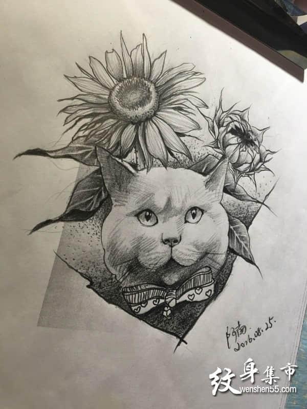 向日葵纹身手稿