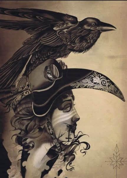 乌鸦纹身手稿