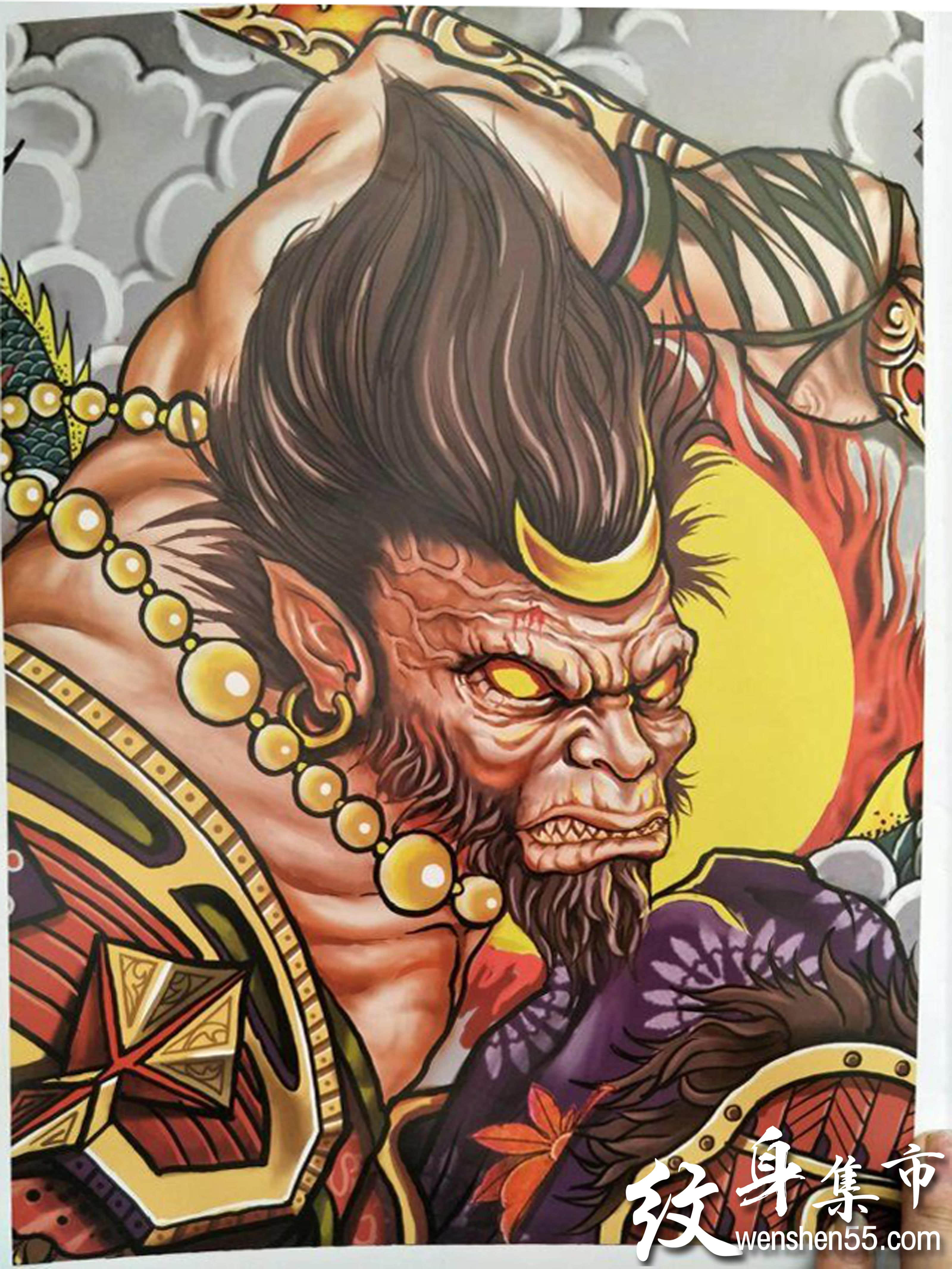 斗战纹身,斗战纹身手稿,斗战系列二郎神关羽纹身手稿图案