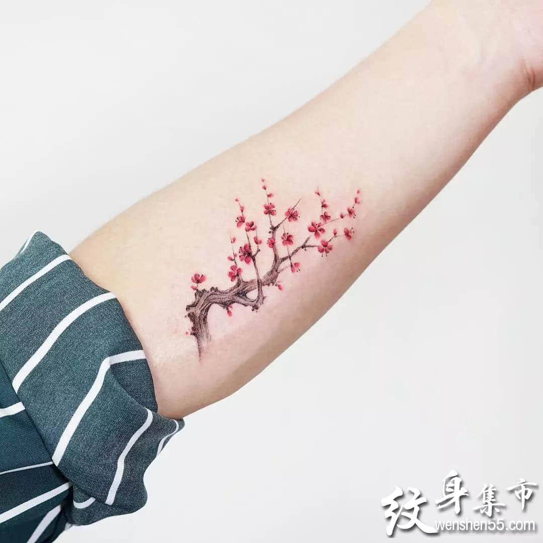 桃花纹身,桃花纹身手稿,桃花纹身手稿图案