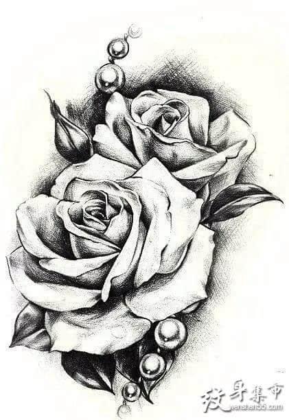 玫瑰纹身,玫瑰纹身手稿,手背玫瑰纹身手稿图案