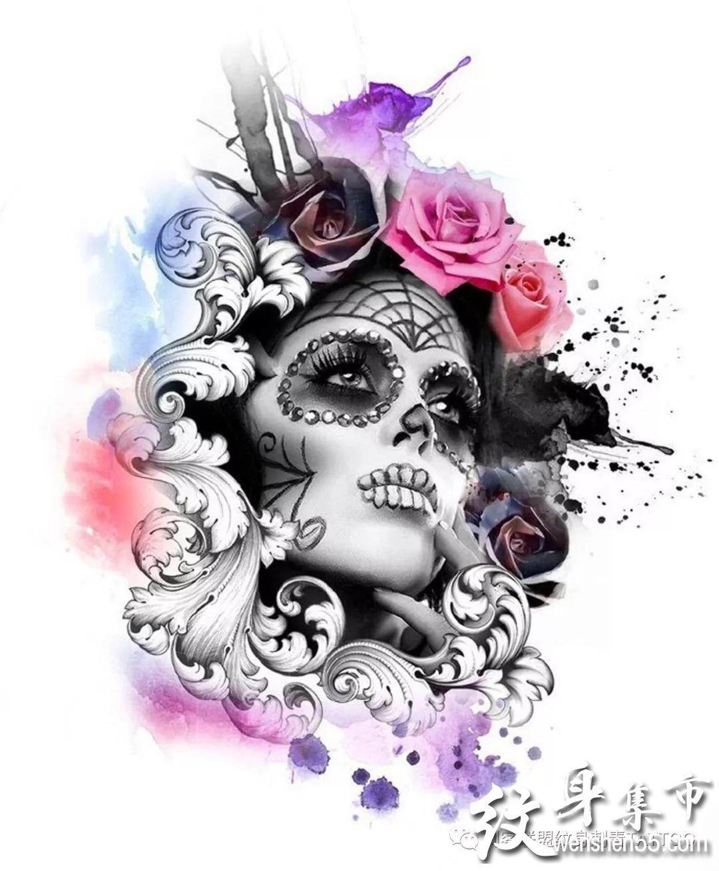 水彩纹身,水彩纹身手稿,水彩纹身手稿图案大全