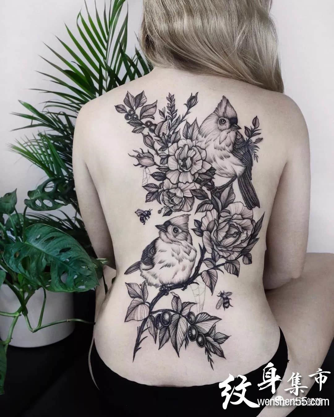 素花纹身,女神素花纹身手稿图案,ins艺术家作品连载