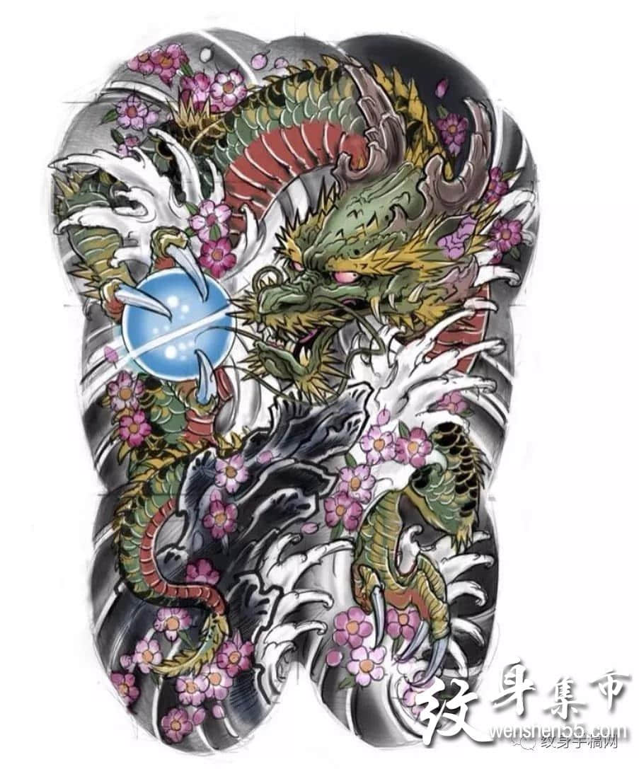 满背苍龙纹身,满背苍龙纹身手稿,满背苍龙纹身手稿图案