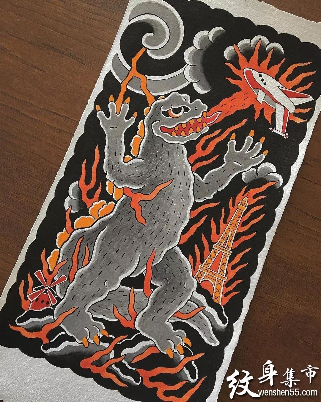 日式满背半甲纹身,日式纹身手稿,日式纹身手稿图案
