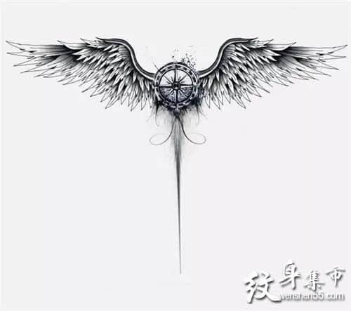 翅膀纹身,翅膀纹身手稿,翅膀纹身手稿图案