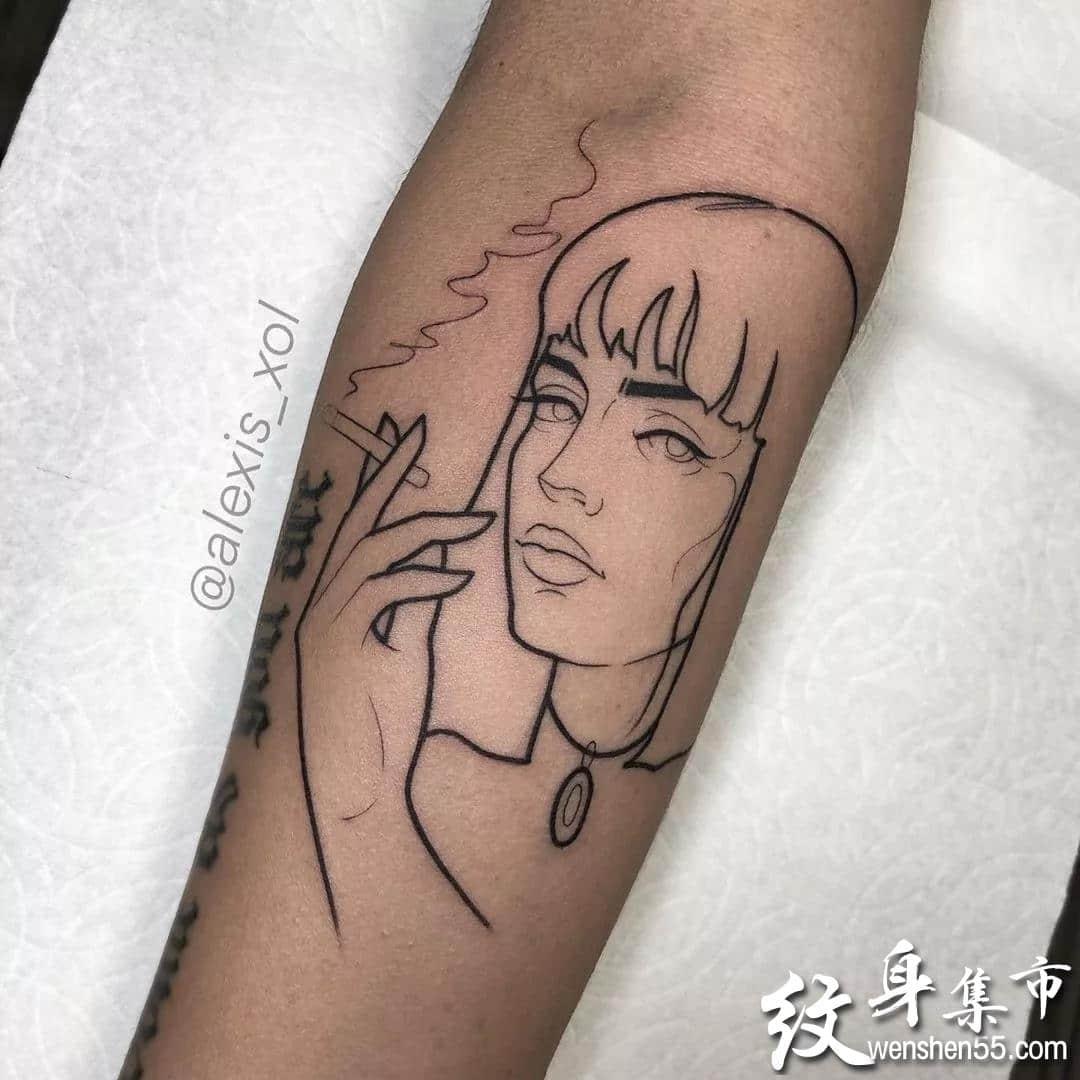 极简线条纹身,极简线条纹身手稿图案大全
