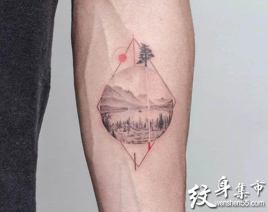 几何水彩纹身,几何水彩纹身手稿,几何水彩纹身手稿图案