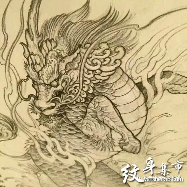 麒麟纹身,麒麟纹身手稿,麒麟纹身手稿图案大全