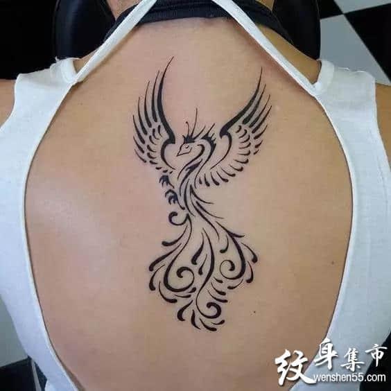 简约凤凰纹身,简约凤凰纹身手稿,简约凤凰纹身手稿图案