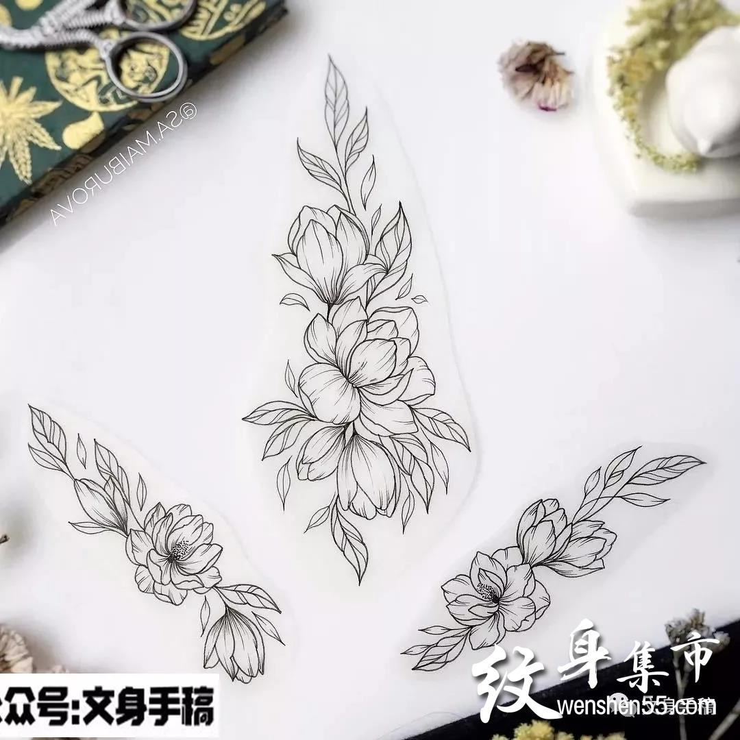 素花纹身,素花纹身手稿,素花纹身手稿图案大全