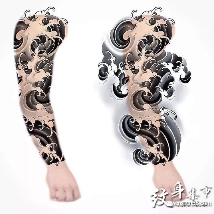 花臂满背纹身,花臂纹身手稿,花臂纹身手稿图案
