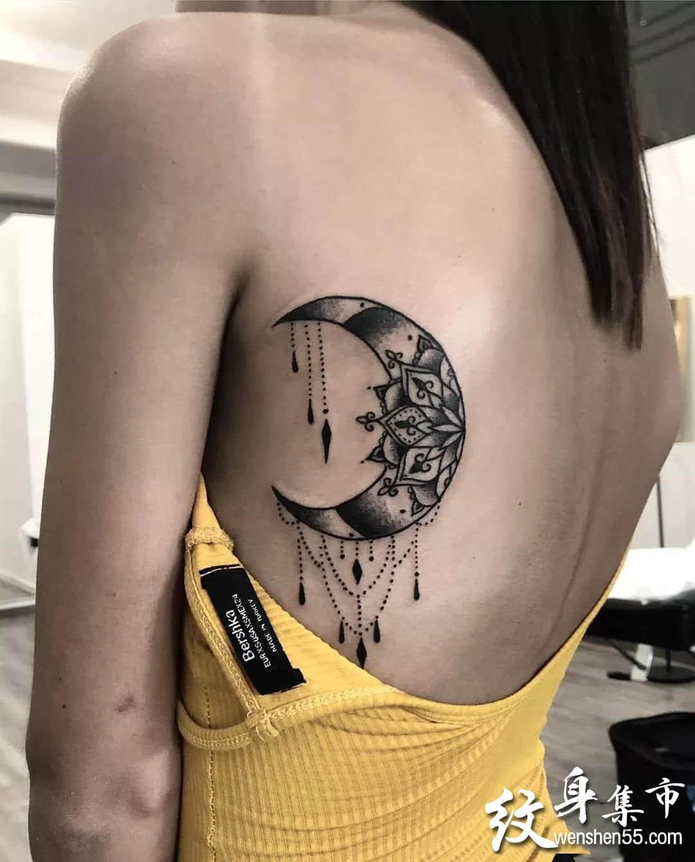 月亮纹身,月亮纹身手稿,月亮纹身手稿图案