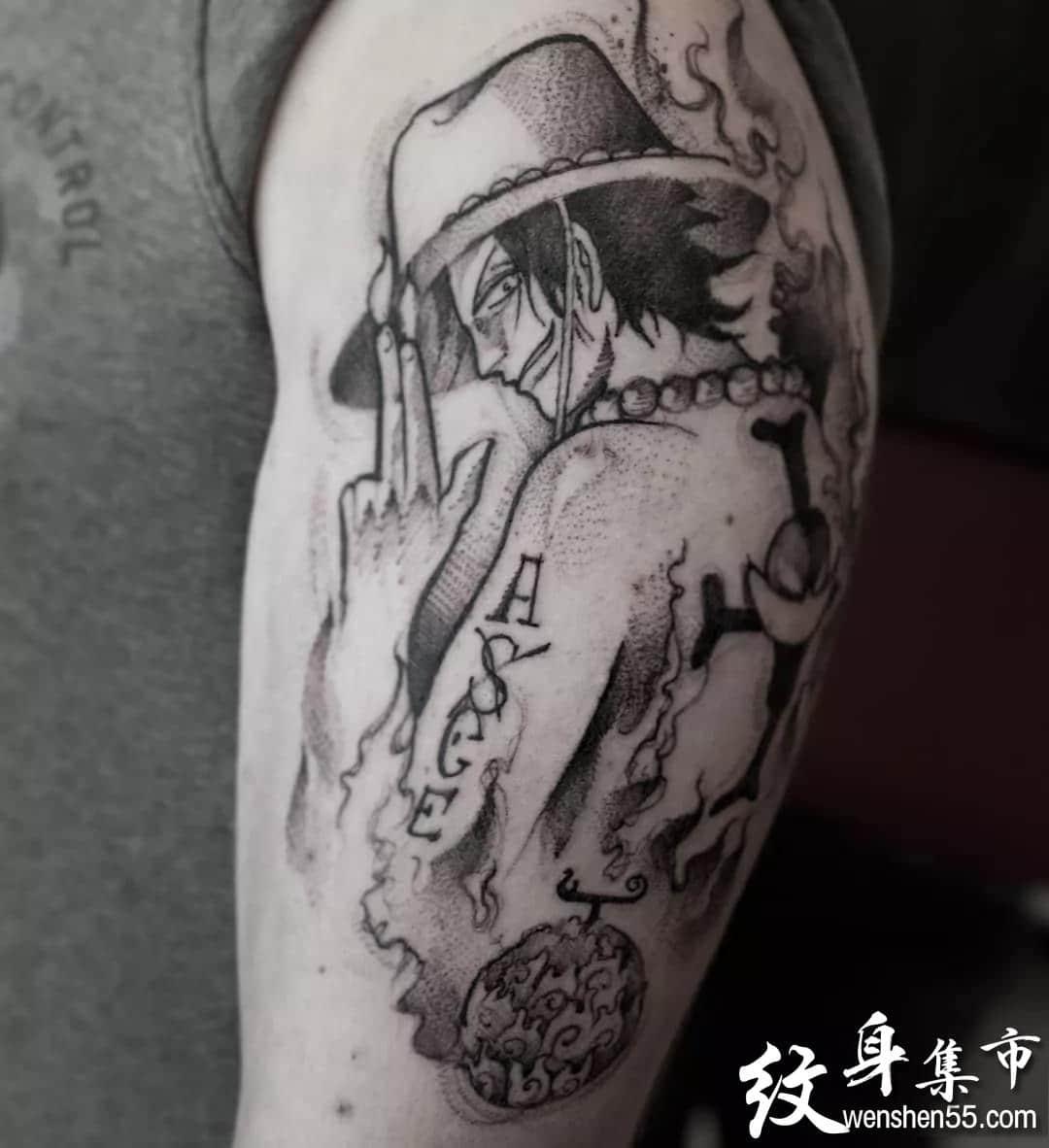 动漫海贼王纹身,动漫海贼王纹身手稿图案