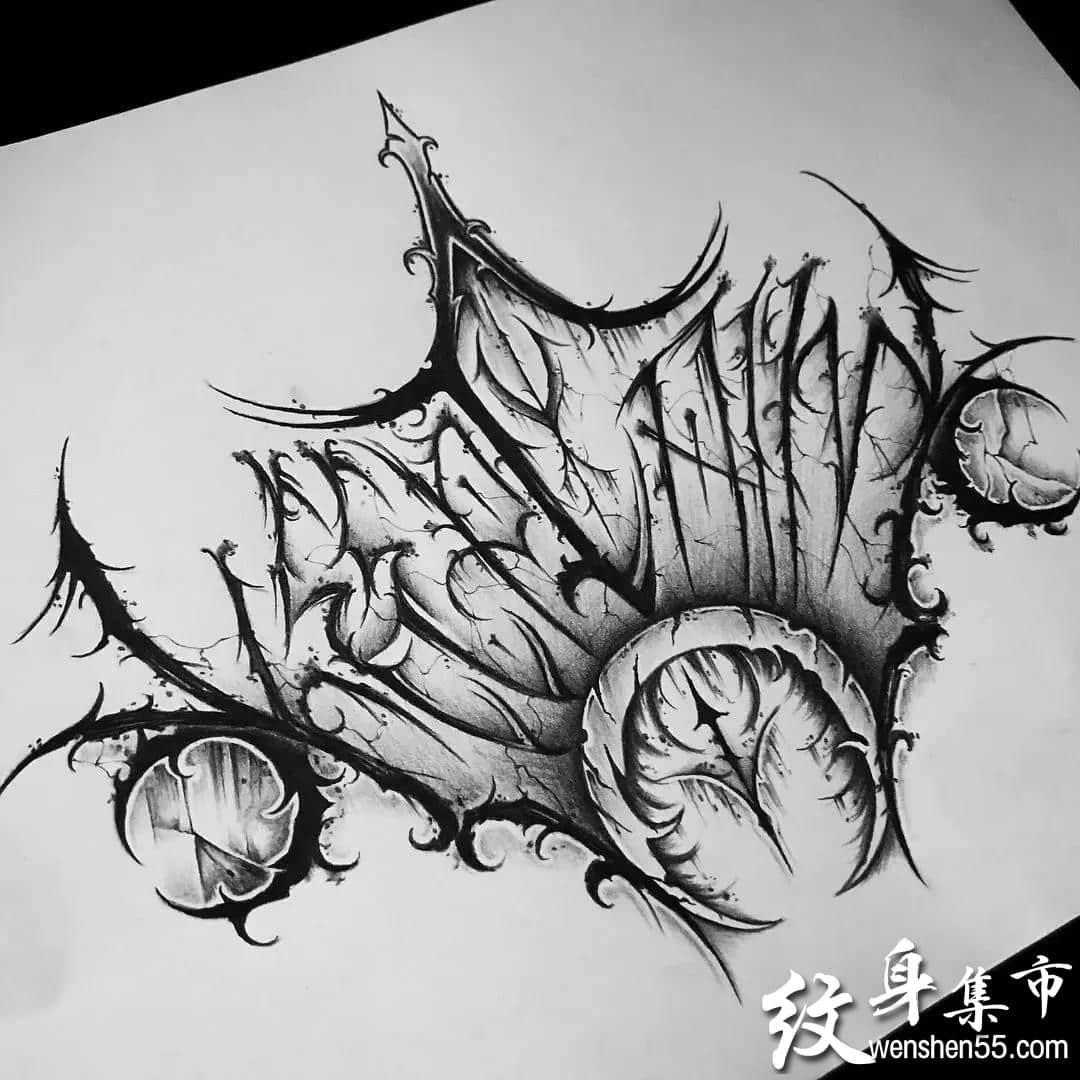 暗黑花体字纹身,暗黑花体字纹身手稿图案