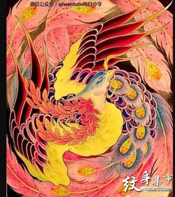 凤凰满背纹身,凤凰满背纹身手稿,凤凰满背纹身手稿图案
