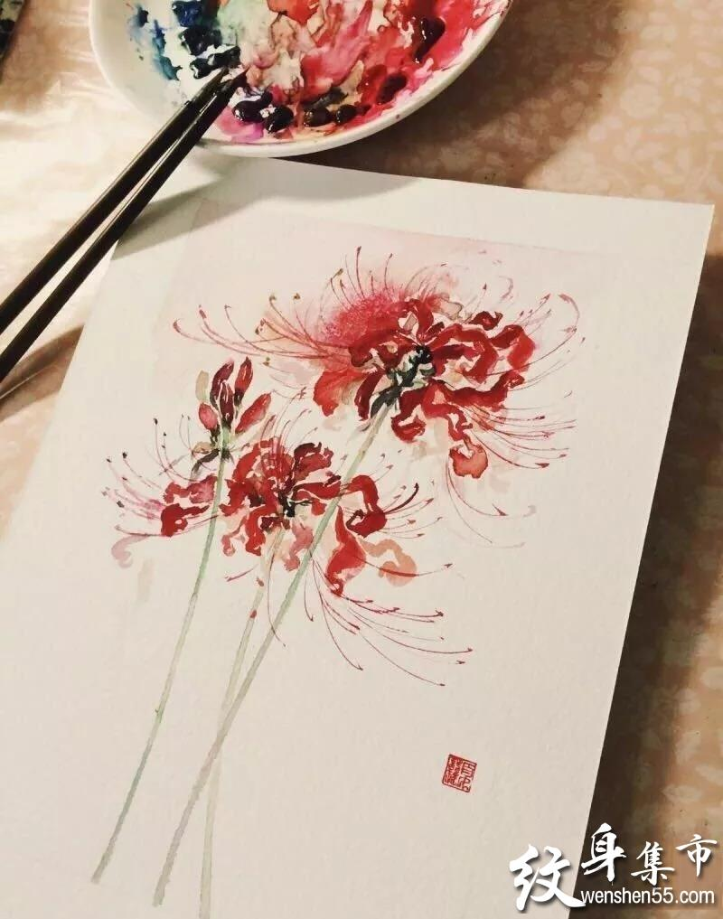 欧美蜘蛛系列_彼岸花纹身,彼岸花纹身手稿,彼岸花纹身手稿图案 - 纹身集市