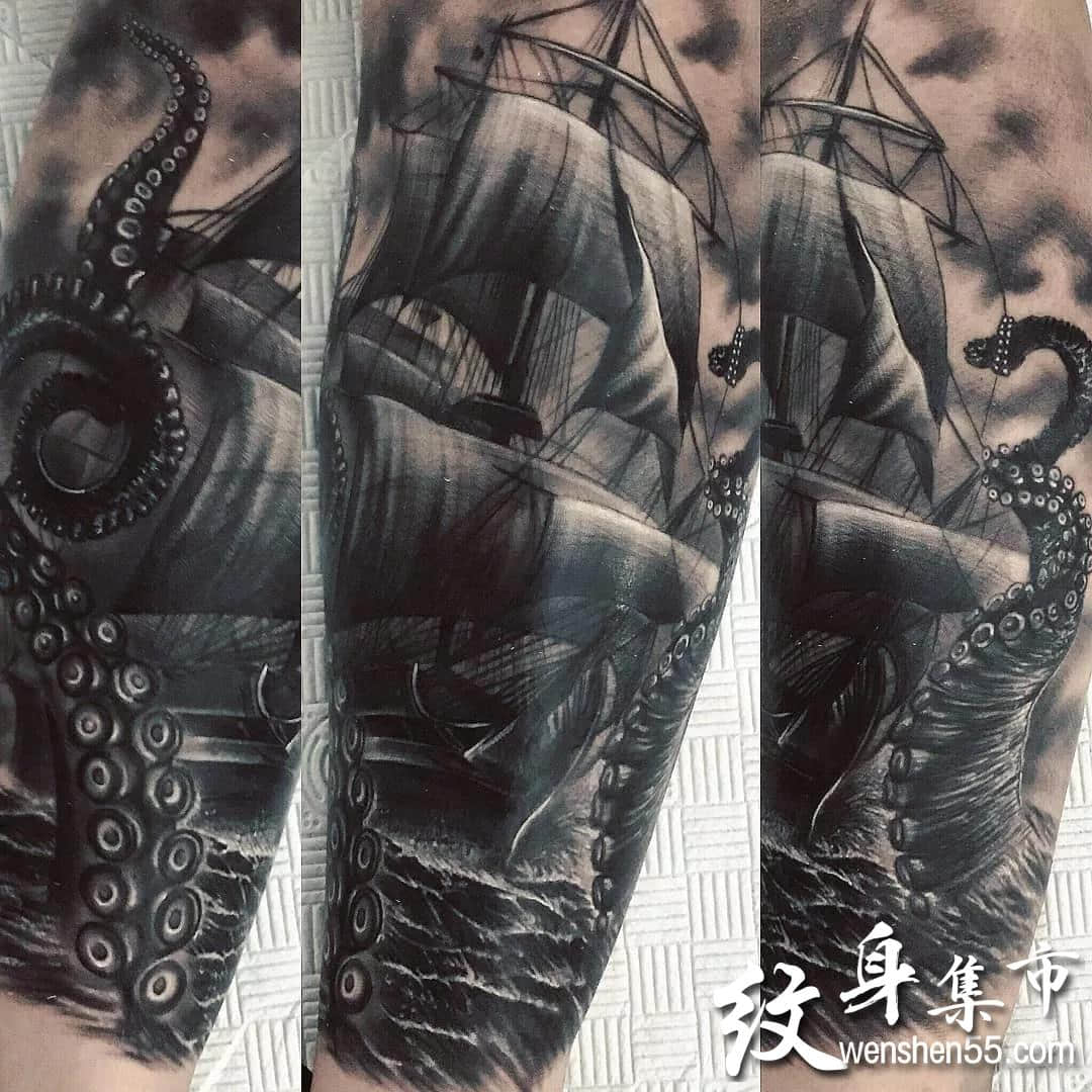 帆船纹身,帆船纹身手稿,帆船纹身手稿图案大全