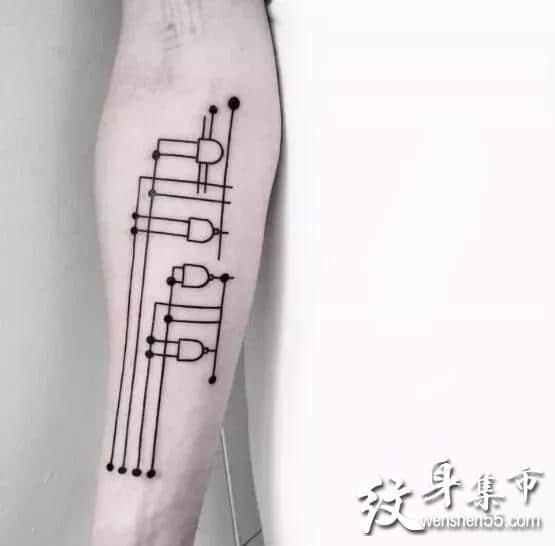 线条纹身,线条纹身手稿,线条纹身手稿图案大全