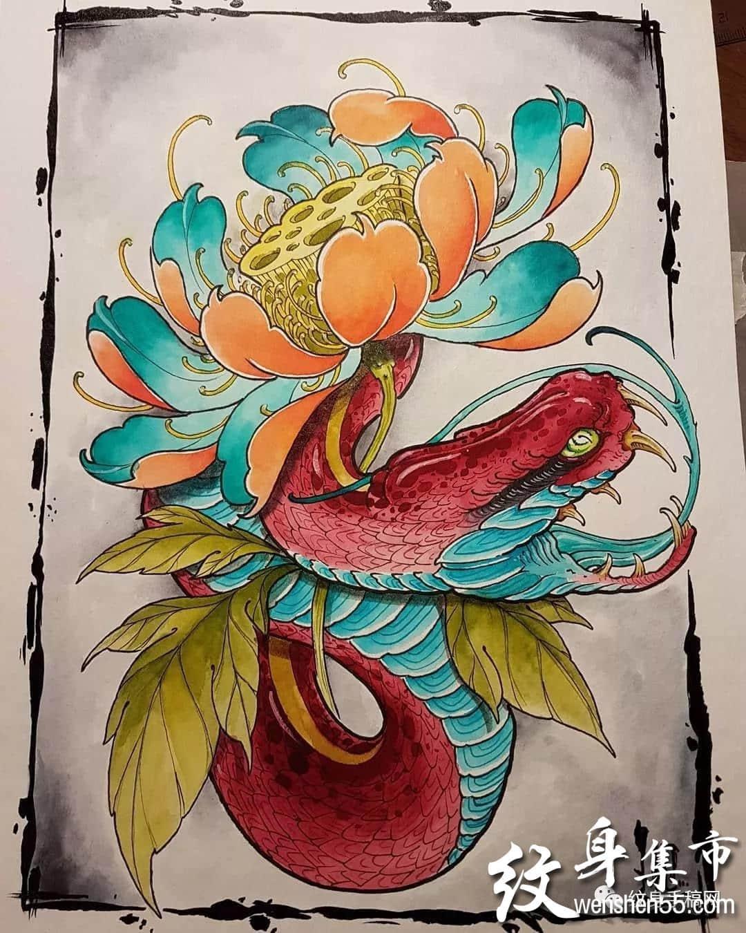 荷花纹身,荷花纹身手稿,荷花纹身手稿图案大全