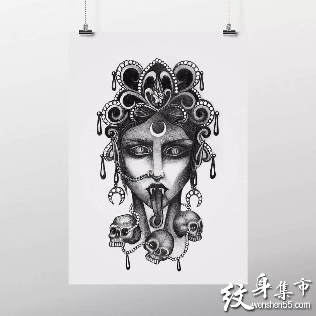 雪山神女纹身,雪山神女纹身手稿,雪山神女纹身手稿图案