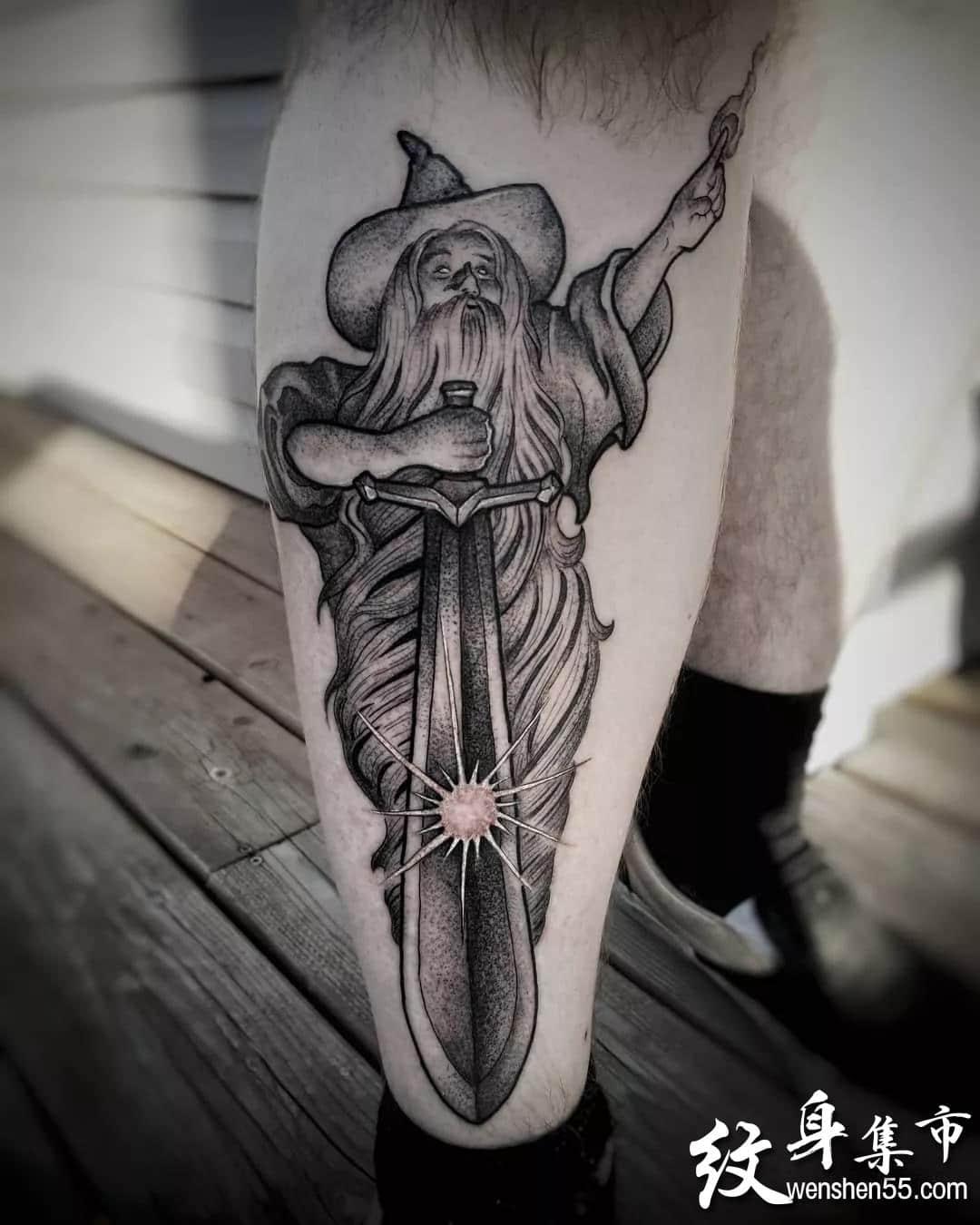 甘道夫纹身,甘道夫纹身手稿,甘道夫纹身手稿图案