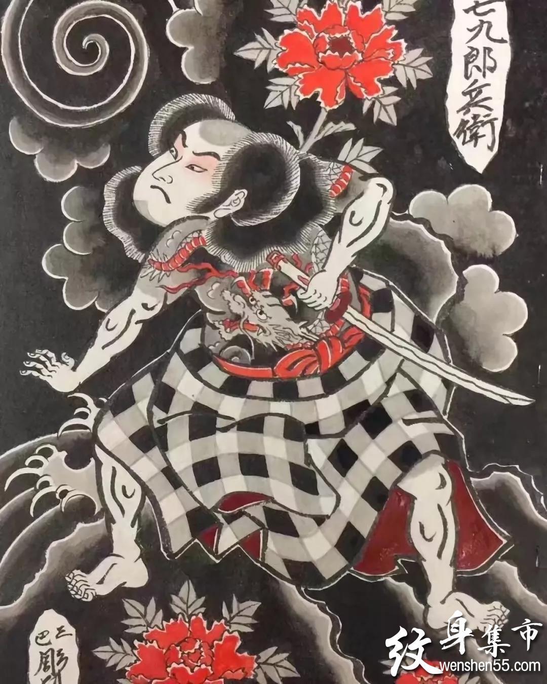 日式版雾纹身,日式满背版雾纹身手稿,日式满背手臂版雾纹身手稿图案