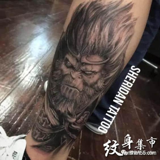 齐天大圣孙悟空纹身,齐天大圣孙悟空满背纹身手稿图案大全