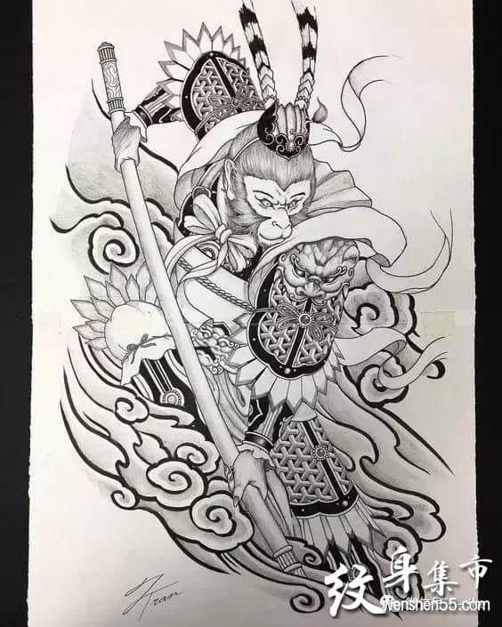 齐天大圣孙悟空纹身,齐天大圣孙悟空纹身手稿图案大全