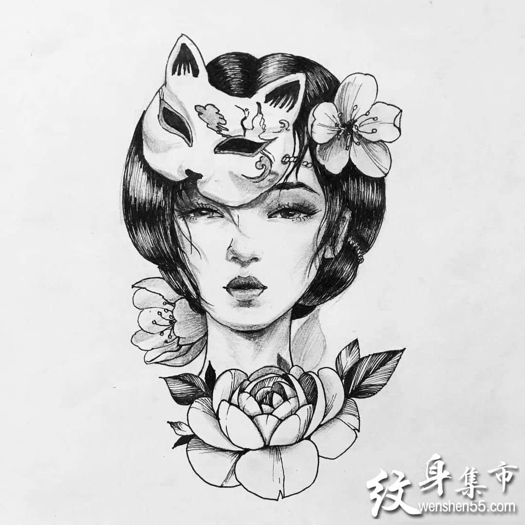 素花女武士艺伎纹身,素花女武士纹身手稿图案大全